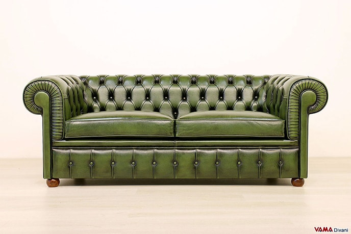 Divano Chesterfield vintage in pelle verde originale